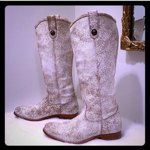 SALE🎉FRYE Melissa Button Tall White Crackle Boots
